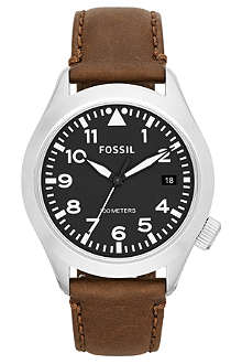 FOSSIL AM4512 stainless steel and leather watch