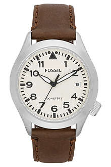 FOSSIL AM4514 stainless steel and leather watch