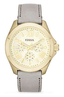FOSSIL Gold and leather female watch AM4529