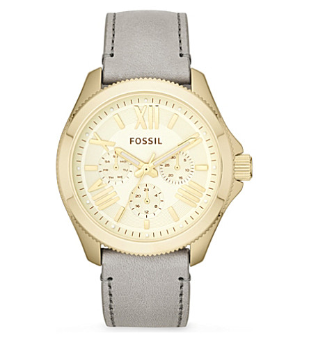 FOSSIL Gold and leather female watch AM4529 (Gold