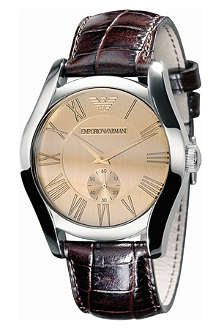 EMPORIO ARMANI AR0645 Valente stainless-steel and leather watch