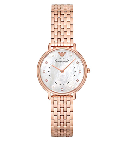 EMPORIO ARMANI AR11006 diamond, rose gold-plated and mother of pearl watch
