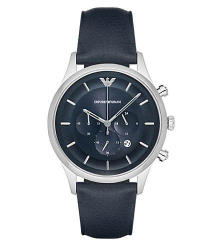 EMPORIO ARMANI AR11018 stainless steel and leather strap watch