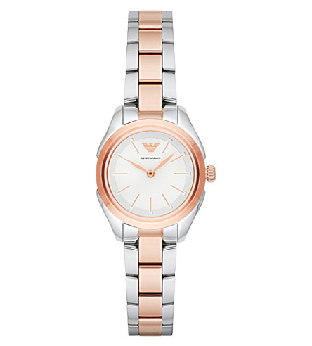 EMPORIO ARMANI AR11029 rose-gold and stainless steel watch