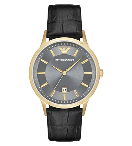 EMPORIO ARMANI AR11049 Renato gold and leather watch