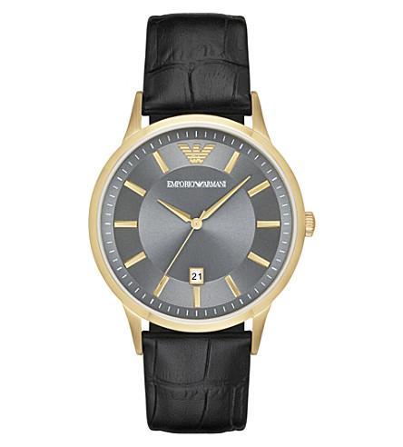 EMPORIO ARMANI AR11049 雷纳多金和皮革手表
