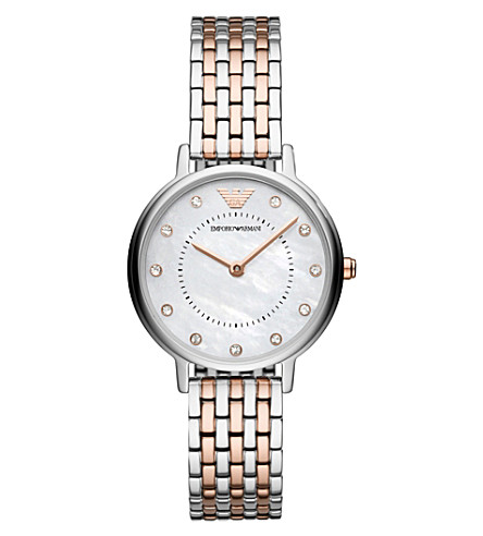 EMPORIO ARMANI AR11094 Kappa mother-of-pearl stainless steel and rose gold-plated quartz watch