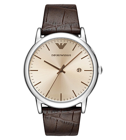EMPORIO ARMANI AR11096 Luigi stainless steel and leather strap quartz watch