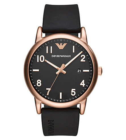 EMPORIO ARMANI AR11097 Luigi rose gold-plated rubber strap quartz watch