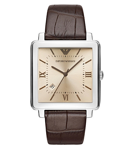 EMPORIO ARMANI AR11098 Modern Square stainless steel leather strap quartz watch