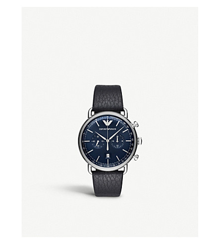 EMPORIO ARMANI AR11105 stainless steel and leather watch