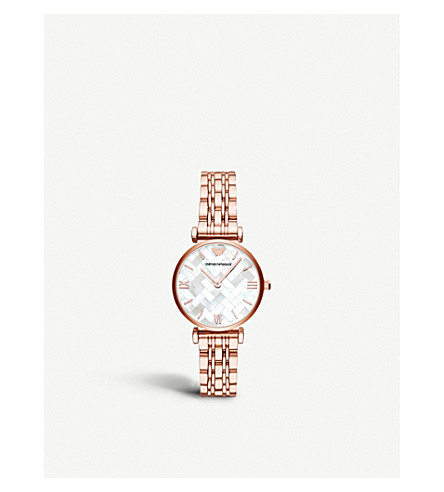 EMPORIO ARMANI AR11110 rose-gold plated and Mother of Pearl watch