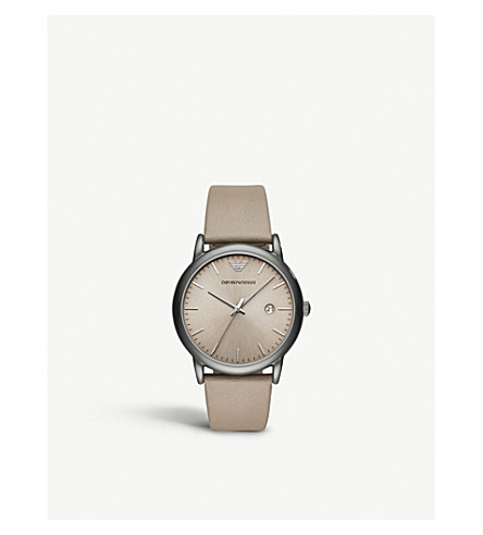 EMPORIO ARMANI AR11116 stainless steel and leather watch