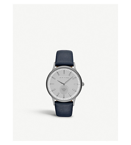 EMPORIO ARMANI AR11119 stainless steel and leather watch