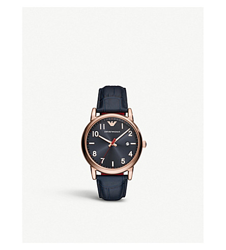 EMPORIO ARMANI AR11135 Luigi rose gold-plated and crocodile-embossed leather strap watch