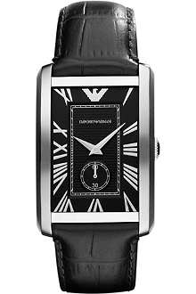 EMPORIO ARMANI AR1604 Stainless steel and mock-croc leather watch