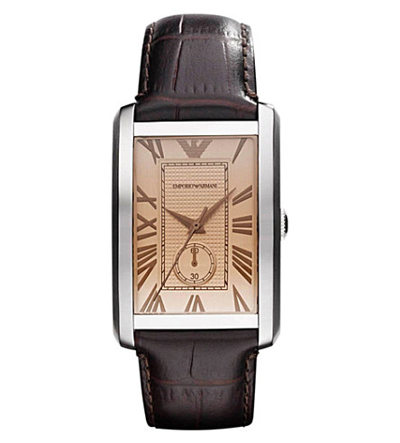 EMPORIO ARMANI AR1605 Stainless steel and mock-croc leather watch