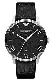 EMPORIO ARMANI AR1611 Dino stainless steel and leather watch
