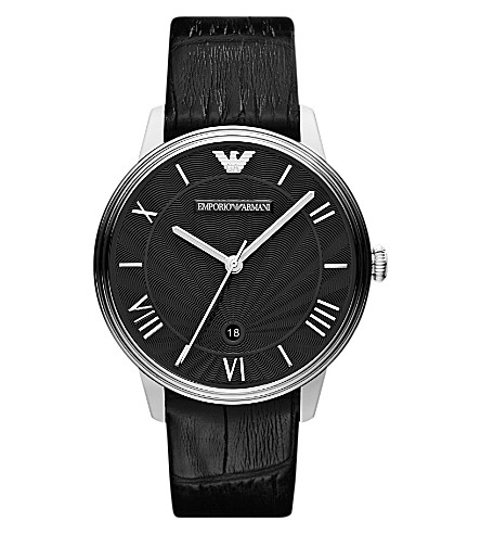 EMPORIO ARMANI AR1611 stainless steel and leather watch (Black