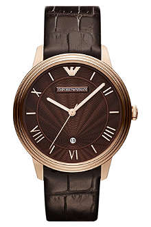 EMPORIO ARMANI AR1613 Dino rose-gold plated and leather watch