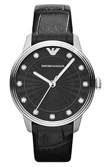 EMPORIO ARMANI AR1618 Dino stainless steel and leather watch