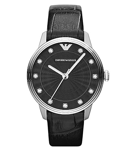 EMPORIO ARMANI AR1618 Dino stainless steel and leather watch (Black