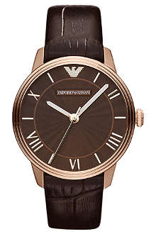 EMPORIO ARMANI Brown and rose gold classic watch