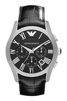 EMPORIO ARMANI AR1633 Valente stainless steel and leather chronograph watch
