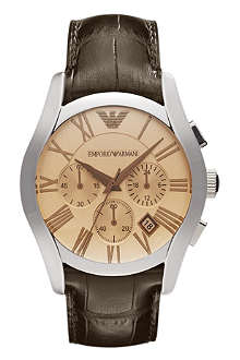 EMPORIO ARMANI AR1634 Valente stainless steel and leather chronograph watch