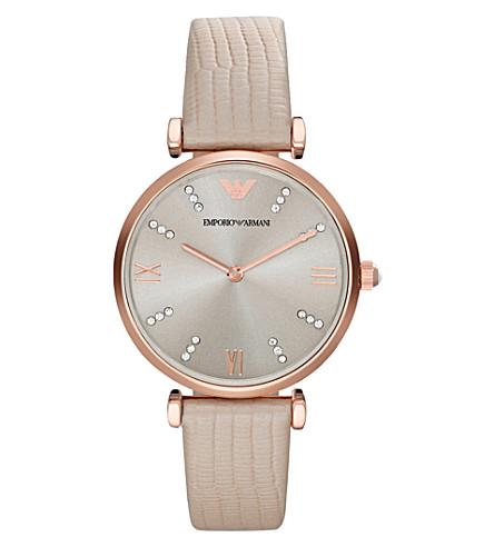 EMPORIO ARMANI AR1681 crystal-embellished rose-gold watch