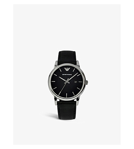 EMPORIO ARMANI AR1692 stainless steel and leather watch (Black