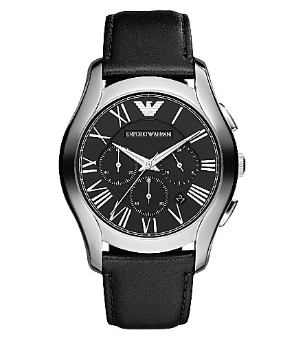 EMPORIO ARMANI AR1700 stainless steel and leather watch (Black