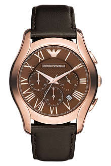 EMPORIO ARMANI AR1701 PVD rose plating and leather chronograph watch