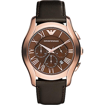 EMPORIO ARMANI AR1701 PVD rose plating and leather chronograph watch (Brown