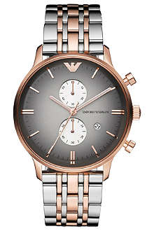 EMPORIO ARMANI AR1721 stainless steel and rose-gold plated unisex watch