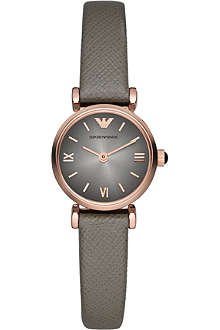 EMPORIO ARMANI AR1727 rose gold-plated and leather watch