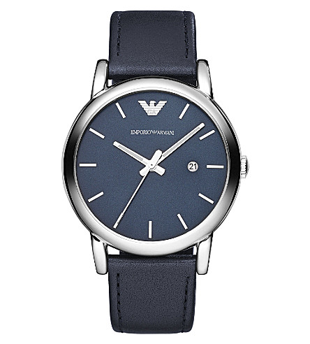 EMPORIO ARMANI AR1731 stainless steel and leather watch (Blue