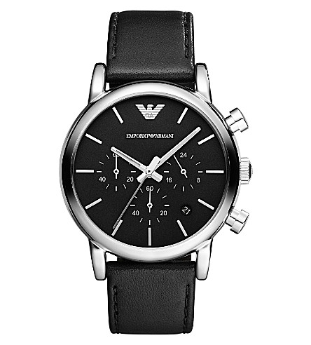 EMPORIO ARMANI AR1733 stainless steel and leather watch (Black
