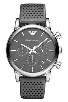 EMPORIO ARMANI AR1735 stainless steel and leather watch