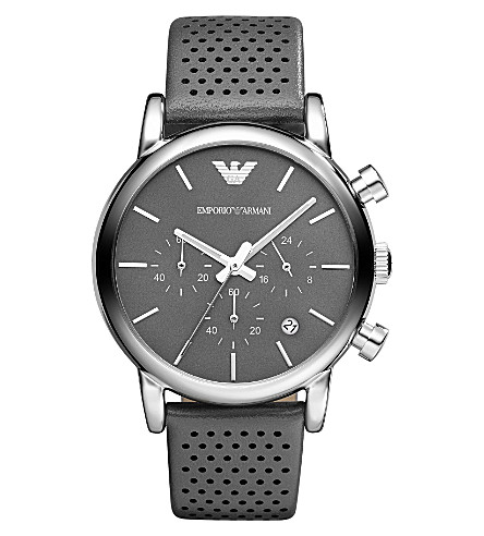 EMPORIO ARMANI AR1735 stainless steel and leather watch (Gunmetal/gray