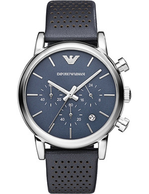 EMPORIO ARMANI AR1736 stainless steel and leather watch