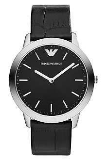 EMPORIO ARMANI Silver-toned snake-embossed watch