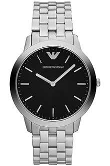 EMPORIO ARMANI Black-face stainless-steel watch