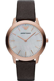 EMPORIO ARMANI Gold-toned reptile-embossed watch