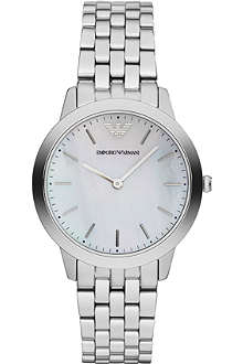 EMPORIO ARMANI White face stainless steel quartz watch