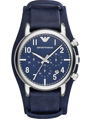 EMPORIO ARMANI SWISS AR1829 Luigi stainless steel and leather watch