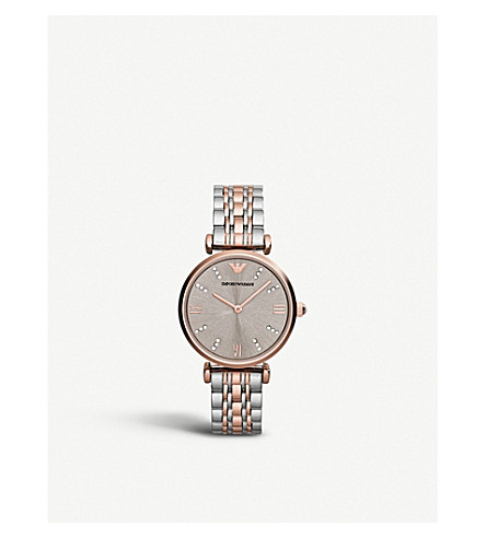 EMPORIO ARMANI AR1840 stainless steel and rose gold-plated watch (Champagne