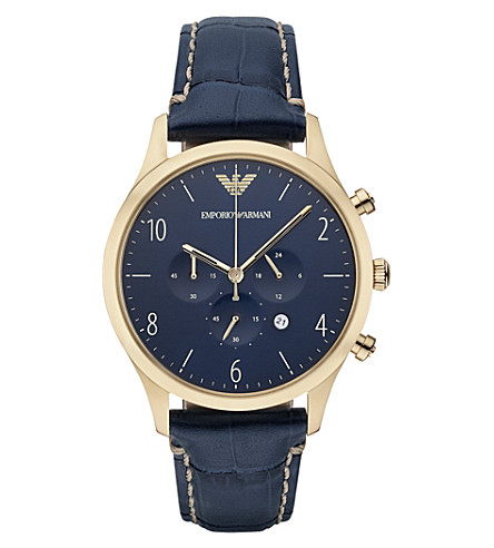 EMPORIO ARMANI AR1862 gold-plated and leather watch (Blue