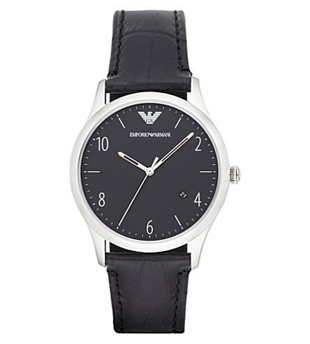 EMPORIO ARMANI AR1865 stainless steel and leather watch (Black