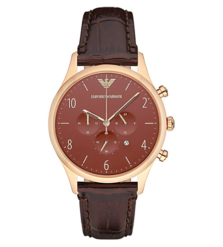EMPORIO ARMANI AR1890 rose gold-plated and leather watch (Br1+-+brown+1